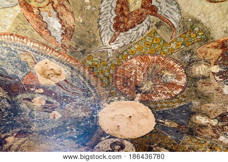 Fresco in Church Of Three Crosses at Rose valley. Cappadocia. Nevsehir Province. Turkey