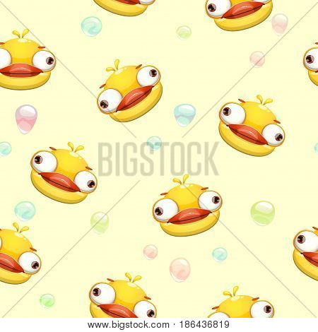 Funny vector childish seamless pattern with crazy yellow duck faces. Comic texture.
