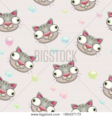 Funny vector childish seamless pattern with crazy cat faces. Comic texture.