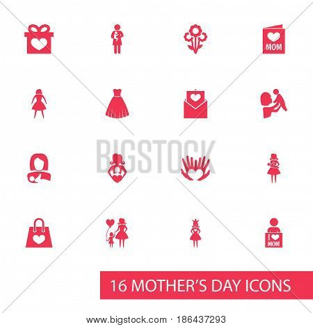 Mothers Day Icon Design Concept. Set Of 16 Such Elements As Nanny, Package And Palms. Beautiful Symbols For Bouquet, Infant And Queen.