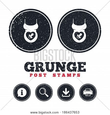 Grunge post stamps. Pregnant woman shirt sign icon. Baby on board with dummy. Maternity symbol Information, download and printer signs. Aged texture web buttons. Vector