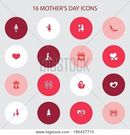 Mothers Day Icon Design Concept. Set Of 16 Such Elements As Mam, Missus And Infant. Beautiful Symbols For Child, Stiletto And Daughter.