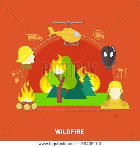 Flat design firefighting work and fireman equipment on red background vector illustration