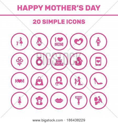 Mothers Day Icon Design Concept. Set Of 20 Such Elements As Kid, Protect And Stiletto. Beautiful Symbols For Bouquet, Screen And Perfume.
