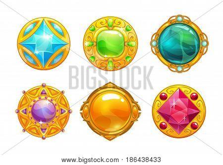 Fantasy golden amulets set. Vector round assets for game design.