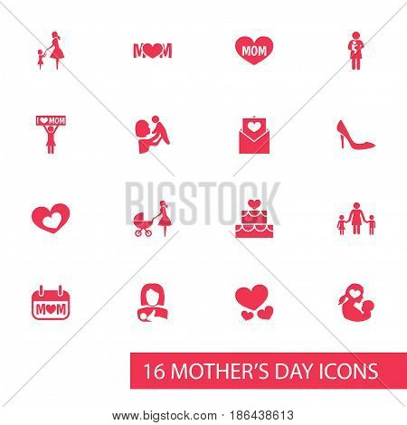 Mothers Day Icon Design Concept. Set Of 16 Such Elements As Shape, Heart And Text. Beautiful Symbols For Pastry, Shoes And Protect.
