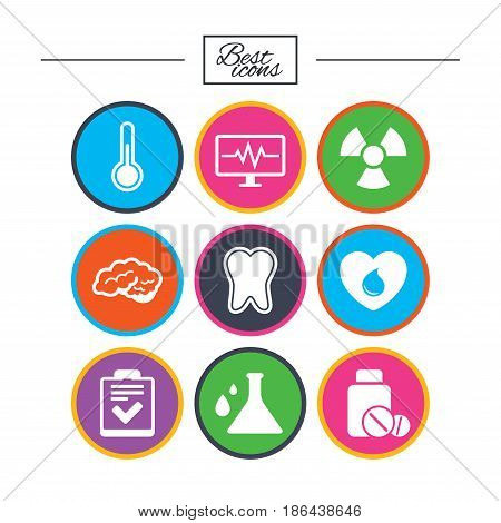 Medicine, medical health and diagnosis icons. Blood donate, thermometer and pills signs. Tooth, neurology symbols. Classic simple flat icons. Vector