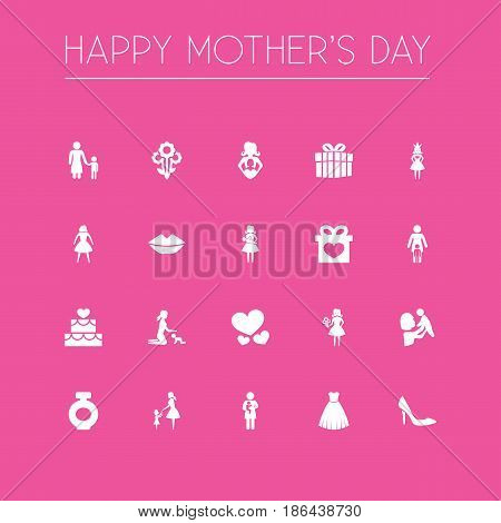Mothers Day Icon Design Concept. Set Of 20 Such Elements As Fragrance, Evening Gown And Mouth. Beautiful Symbols For Child, Son And Cake.