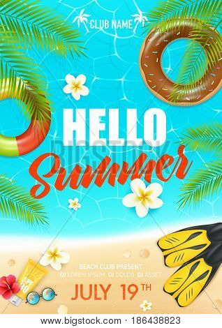 Tropical summer vacation beach club colorful invitation poster  with lifebuoy ring suncream and hibiscus flowers vector illustration