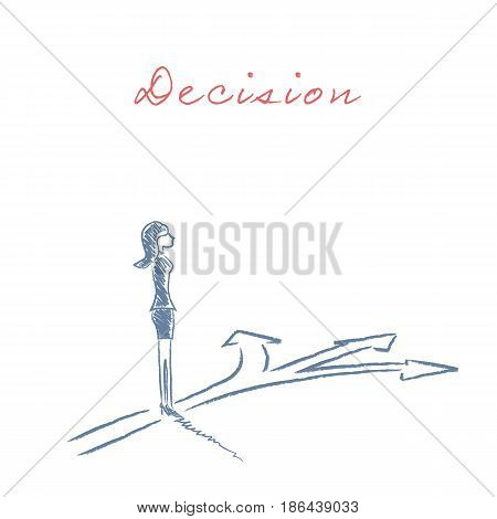 Businesswoman making a business decision vector concept. Eps10 vector illustration.