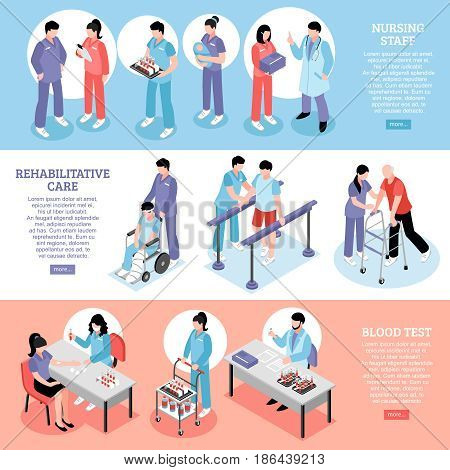Hospital information online 3 isometric banners with staff nurses at rehabilitation center and blood test vector illustration
