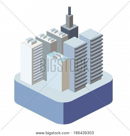 Isometric Flat 3D Isolated Concept Vector City Three-dimensional Summer Town Quarter. Skyscrapers, A