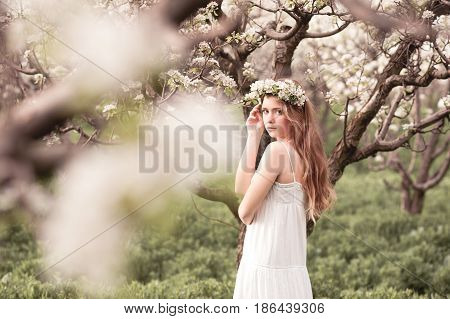 Blonde teenage girl 14-16 year old posing in pear orchard. Looking at camera. Springtime.