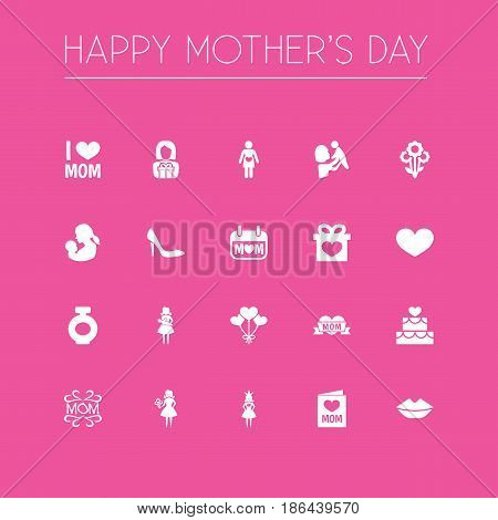 Mothers Day Icon Design Concept. Set Of 20 Such Elements As Woman, Loving And Mam. Beautiful Symbols For Mother, Soul And Text.