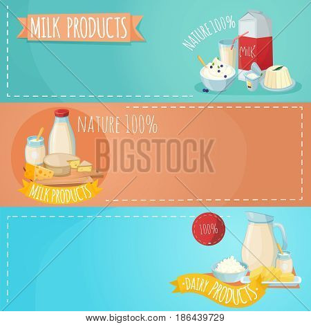 Set of horizontal banners with composition from milk products including sour cheese butter curd isolated vector illustration