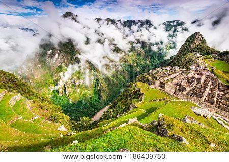 Machu Picchu Peru - Ruins of Inca Empire city in Cusco region amazing place of South America.