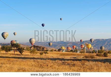 Hot Air Balloons Landing After Flight In The Morning. Cappadocia. Turkey