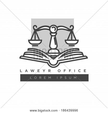 Lawyer office colorless logo label with place for company name isolated on white. Vector illustration in flat design of badge consisting of open book and scales against grey square, justice template