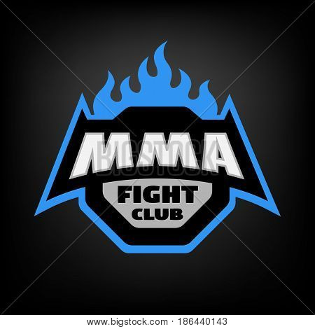 MMA fight club. Mixed martial arts logo, on dark background.