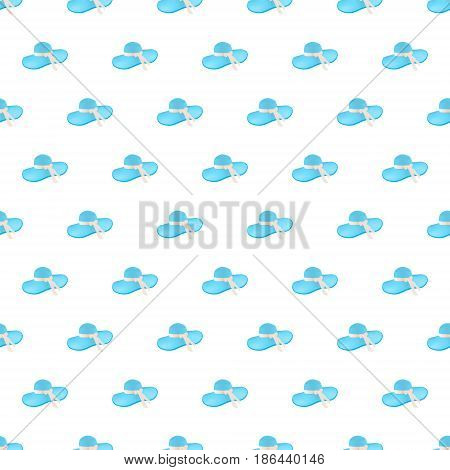 Seamless pattern summer beach bonnet background with template in swatches for your convenience. Easy to use. Cartoon flat style illustration.