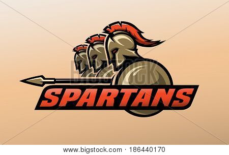 Three spartan warriors. Logo symbol Vector illustration