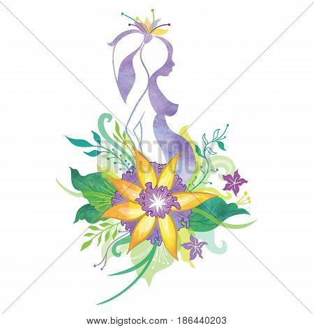 Girl waiting baby silhouette logo with flowers and natural ornaments and watercolor texture on white background