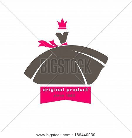 Original products designers boutique logotype with fluffy dress and pink belt, crown, inscription beneath isolated on white. Vector illustration in flat of label for woman and girl shop with clothes