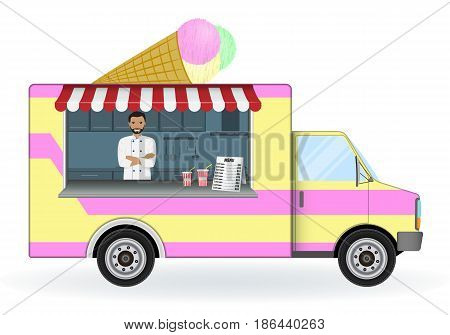 Ice cream car isolated on a white background. Mobile sweets shop vector illustration. Summer cold desserts and drinks sell van. Street food on wheels concept.