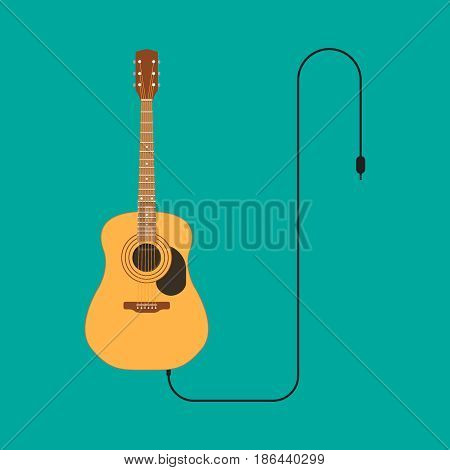 Guitar vector illustration. Flat element for web design and mobile app. High quality flat icon for design printed material. Guitar icon on background.