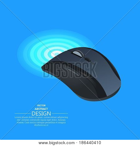 Realistic wireless mouse on the isolated blue background. Computer equipment.3d style. Isometric projection. Vector illustration.