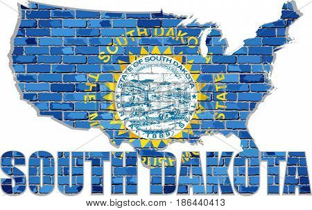 South Dakota on a brick wall - Illustration