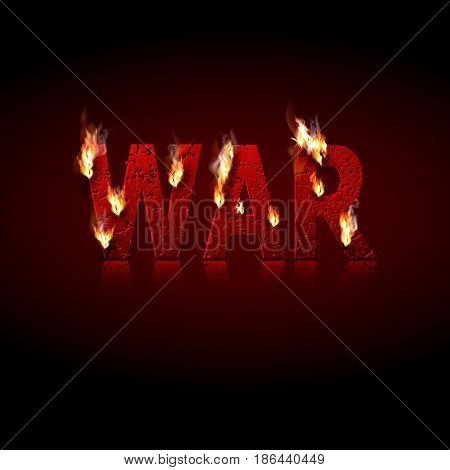 The burning word War punched by bullets. Concept of the global conflict. Design element. Press. Vector illustration.