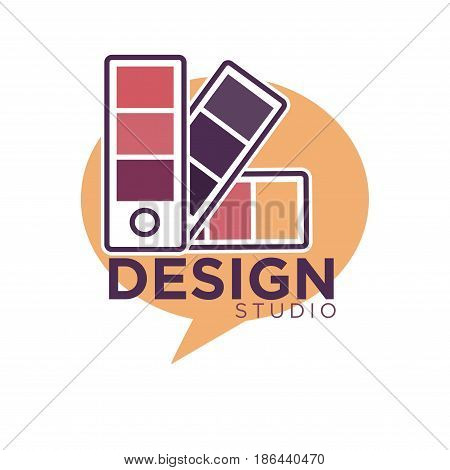 Art design studio colorful emblem. Fastened rectangular small color palettes in round orange chat cloud with big dark violet sign underneath isolated vector illustration on white background.