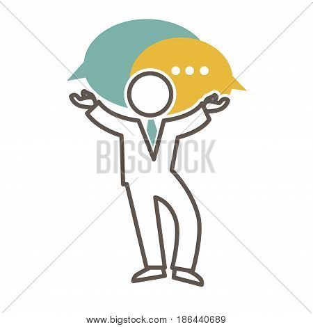 Man in suit silhouette with chat bubbles vector illustration logo design isolated on white background. Messages above person with stretched hands, communication logotype, male ready to start dialogue
