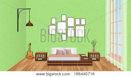 Interior of living room with empty frames guitar wood flooring and window. Loft design concept in hipster style. Vector illustration.