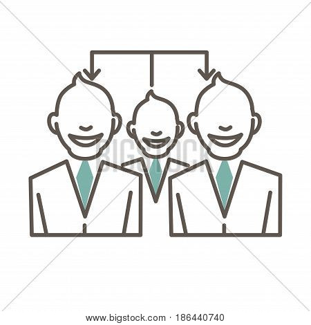 Cartoon outlined people in suits and turquoise ties with broad smiles and forelocks connected schematically by arrows that come from one to others isolated vector illustration on white background.