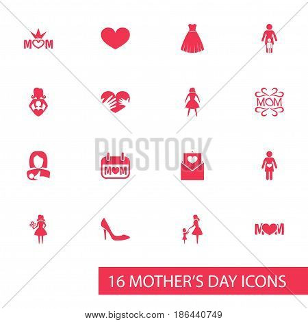 Mothers Day Icon Design Concept. Set Of 16 Such Elements As Lady, Design And Soul. Beautiful Symbols For Mam, Bouquet And Evening.