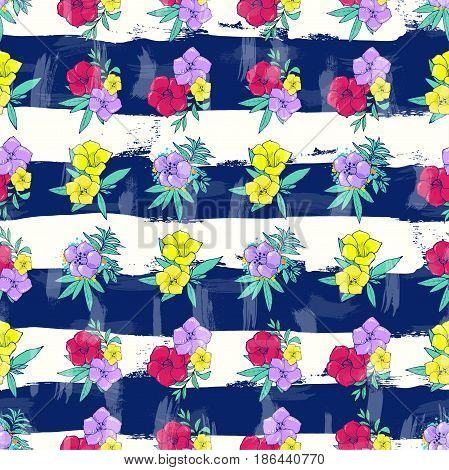Vector seamless striped pattern. Exotic colorful flowers on a white-blue background with stripes. Floral design. Hand drawn fashion illustration.