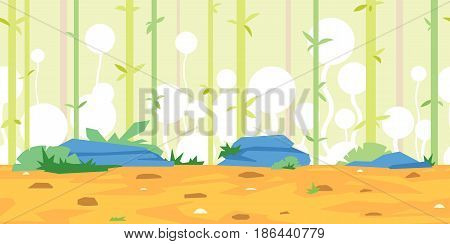 Bamboo overgrown with fantastic white plants, grounds with stones, bushes and green grass, nature game background, tileable horizontally