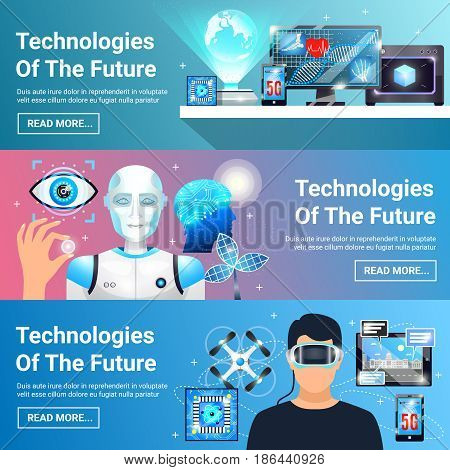 Set of horizontal banners with future technologies including virtual reality headset, robot, digital medicine isolated vector illustration