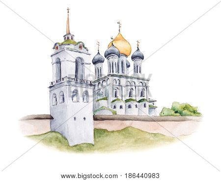 Trinity Cathedral of Pskov Kremlin, Russian Orthodox church with golden domes, watercolor sketch illustration isolated on white background. Watercolor illustration of ancient Russian Orthodox church