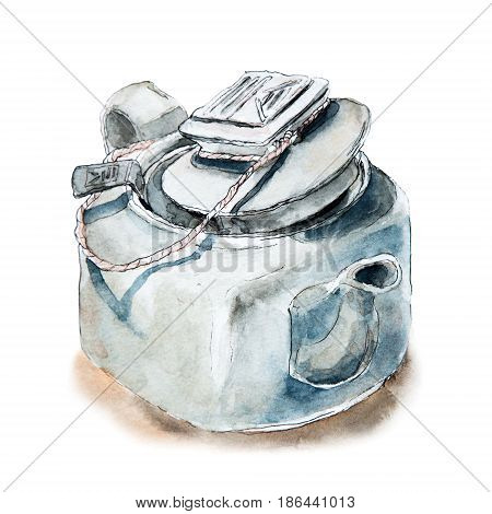 Square Chinese teapot, tea pot with half open lid and strainer, sketch watercolor illustration isolated on white background. Light watercolor illustration of Chinese teapot, tea pot sketch