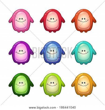 Colorful funny monsters set. Vector cute alien icons.