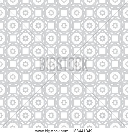 Gray white seamless pattern. Classical stylish geometric texture. Regularly repeating geometrical ornament with squares stars hexagons. Vector element of graphic design