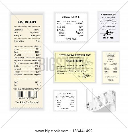 Cash receipt vector colorful poster isolated on white. Collection of printed financial checks showing action of purchasing some products or hotel and restaurant services. Bill examples template
