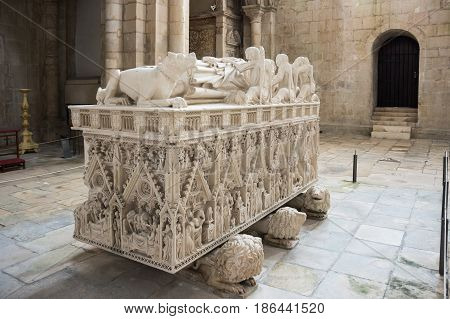 The tomb of king Pedro I in the Alcobaca Monastery a Mediaeval Roman Catholic monastery located in the town of Alcobaca Portugal