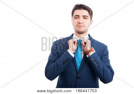 Attractive Salesman Getting Ready For Work