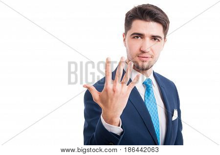 Salesman Making Five Times Sign Gesture With Fingers
