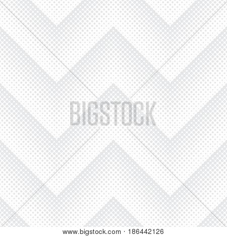 Vector seamless pattern in the form of waves. Infinitely repeating gray white elegant texture consisting of dots of the different size which form geometrical zigzag shapes with halftone effect.