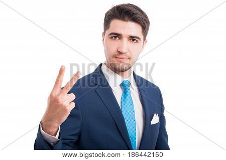 Stylish Man Rising Up Two Fingers